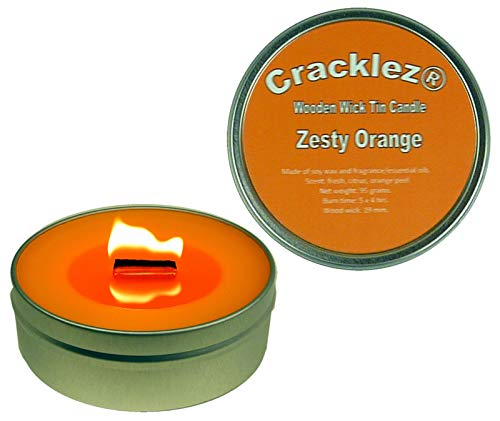 Cracklez 4 Stück Knister Holzdocht Duftkerze in Dose Zesty Orange. Orangen Duft. Orange.