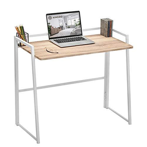 Aingoo Scrivania pieghevole per computer senza assemblaggio pieghevole per casa ufficio PC studio computer portatile Beige