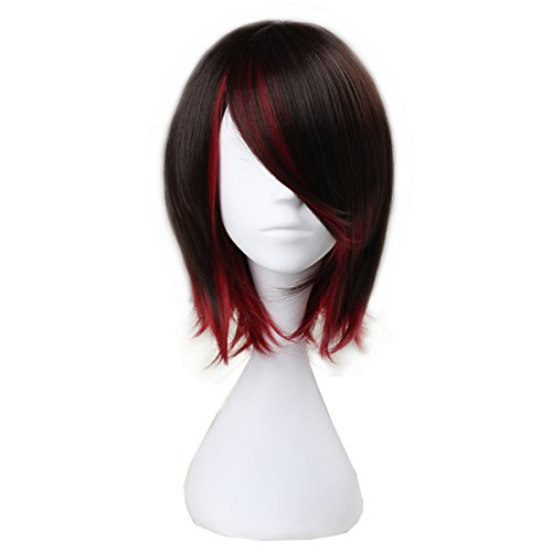 Unisex Short Straight Wave Adult Kids Halloween Party Wig Lolita Costume Cosplay Wigs (Brown mix Red)