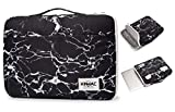 Kinmac 360° Protective Waterproof Laptop Case Bag Sleeve with Handle (14 inch, Black Marble)