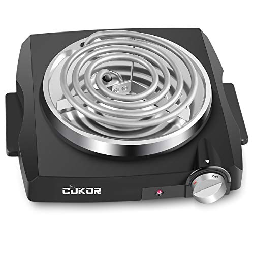 CUKOR Electric Single Coil Burner, Portable Hot Plate 1100 Watt Powered, Kitchen Cooktop with Non-Slip Rubber Feet - Perfect for Candle Making