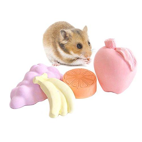 Bwogue Molienda de Lava Piedra de Calcio para Hamster Conejillos de Indias Conejo de Chinchilla Suministros de Juguetes para Chew (Paquete de 4)
