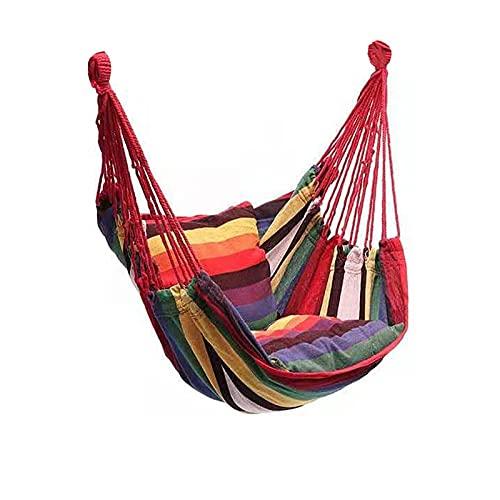 Jardín Cuello Sillón Balanceo Interior Muebles de Aire Libre Hamaca Colgando Cuerda Cuerda Silla Sillón Asiento Asiento Camping Portátil (Color : Rainbow with Pillow)