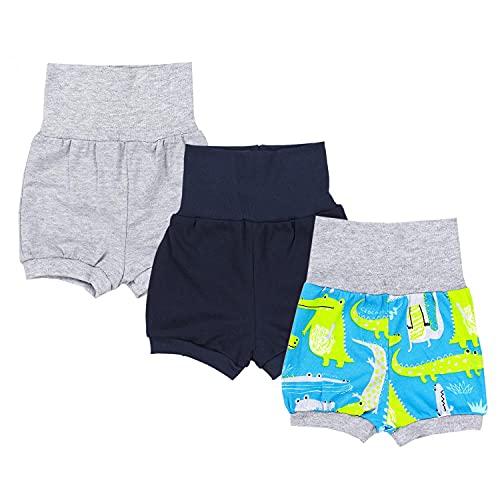 TupTam Baby Unisex Kurze Pumphose Sommershorts 3er Pack, Farbe: Junge 2, Größe: 68-74