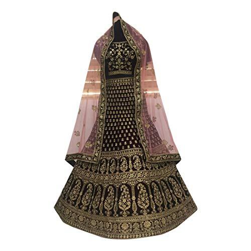 Damen Bluse 8557 mit schwerem Zari-Stein, für Brautschmuck, Lehenga Choli Dupatta, Weinrot