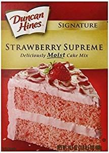 Duncan Hines Signature Strawberry Supreme Cake Mix 16.5 Oz. Pk Of 3.