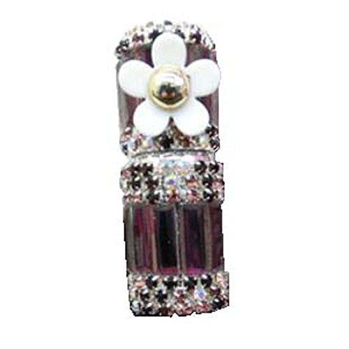 Bouteille vide d'huile essentielle de strass de verre de tube de parfum de Roll-on 5ML, fleur pourpre