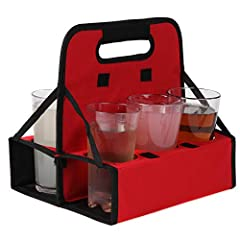 PERFECT SOLUTION FOR CARRYING MULITPLE DRINKS! Holds up to 6 cups or cans SOLID & STURDY. Durable Frame and solid base has drinks sit leveled during transport without spilling a drop! Plus comfort grip handles EASY TO USE. Simply fold the trays downw...