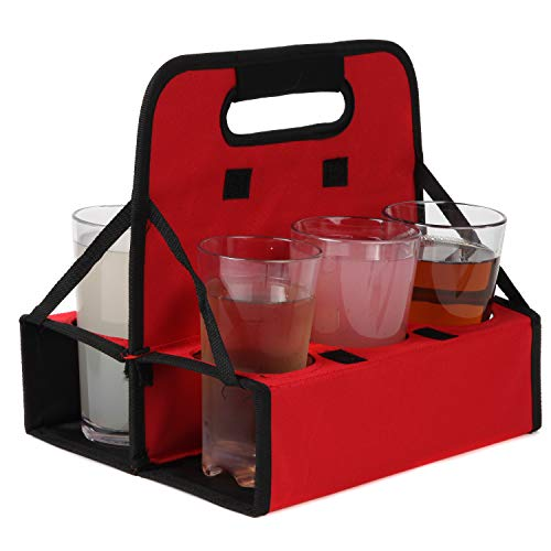 Trenton Gifts Reusable Cup Carrier | Holds 6 Cups or Cans | Sturdy Frame & Solid Base | Folds Flat