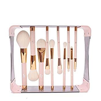 ENERGY Professional Makeup Brushes Set with Magnet Makeup Brush Drying Rack Wood Handle Metal Stand Premium Powder Blusher Eyeshadow Concealer Blending Brush Kit pink,Metal Magnet Organizer