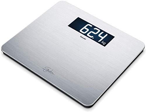 Beurer GS 405 Signature Line, Pèse-personne en acier inoxydable de haute qualité avec revêtement anti-empreintes digitales, écran XXL éclairé pour une meilleure lisibilité, capacité de charge 200 kg