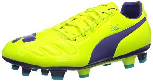Puma Evopower 3 FG, Botas de fútbol Mujer, Fluro Yellow-Prism Violet-Scuba Blue 3, 37.5 EU