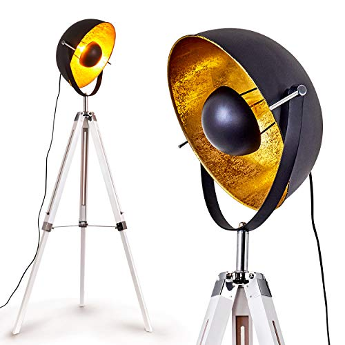 Staande lamp Jupiter, vintage vloerlamp in zwart/goud metaal, houten frame in wit, Ø 45cm, E27 fitting, max. 60 Watt, verstelbare vloerlamp in retro uitvoering, geschikt voor LED-lampen