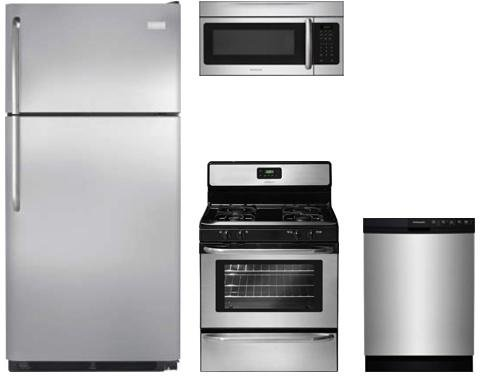Frigidaire 4-Piece Stainless Steel Package with FFTR1821TS 30' Top Freezer Refrigerator, FFGF3047LS 30' Gas Range, FFBD2412SS 24' Full Console Dishwasher and FFMV164LS 30' Over The Range Microwave