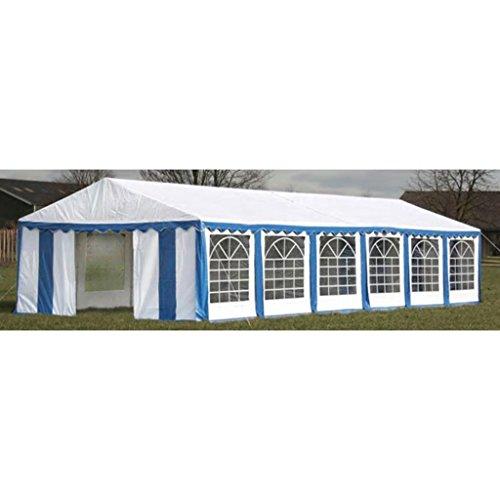 UnfadeMemory Partyzelt PVC 500g / m² Pavillon Festzelt Gartenpavillon Gartenzelt mit Seitenteile für Outdoor-Partys Sonnenschutz Zelt Stabil Eisenrahmen (12 x 6 m, Blau und Weiß)
