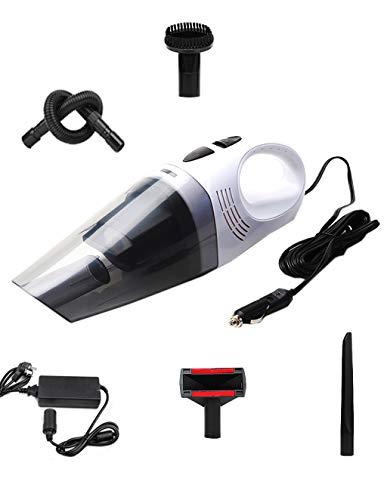 Aspirateur portatif pour Voiture/Maison Double Usage/Humide/Sec/Portable/Aspiration 5000pa, Puissance 100w, Filtre HEPA de Longueur de Ligne de 4,5 m (Blanc)