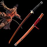Yongli Sword SEKIRO: Shadows Die Twice Wolf Cosplay Replica Sword Mortal Blade Japanese Game Katana Red High Manganese Steel (Red)