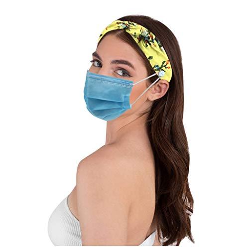 Sport Headband Stirnband für Running Yoga Fitness 23x8cm Piebo Damen Frauen Turban Stirnbänder Kopf Haarband Blumendruck Haarbänder Kopfband Haarschmuck mit Knopf Ohrendruck Beseitigen Gehörschutz