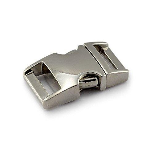 Klickverschluss aus Metall im 3er Set, 5/8'' Klippverschluss/Steckschließer/Steckverschluss für Paracord-Armbänder, Hunde-Halsbänder, Rucksack, Farbe: Silber