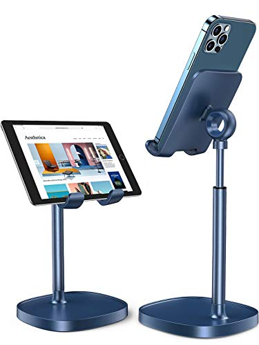 LISEN Desk Electronic Stand, Adjust Phone Stand for Office,Kitchen, Cook, Thick Case Friendly Phone Holder Stand Compatible with iPhone, 2021 iPad Mini, Switch, Kindle, Tablet(4-10in)-Blue