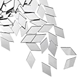 Diamond Shape Mirror Mosaic Tile Small Rhombus Mirror Mini Craft Mirror Rhombus Glass Mirror Tile DIY Mini Size Mirror for Art Wall Door Home Decorations (300 Pieces)