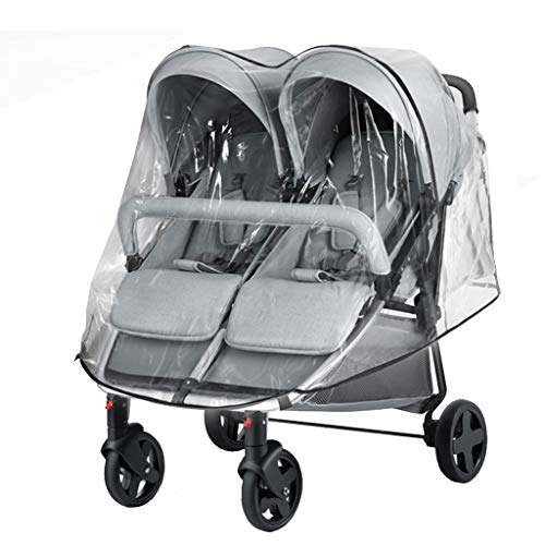 HEAYU Double Pushchair Buggy with Stoller Rain Cover, Lightweight, Foldable & Compact Double Stroller Universal Tandem, Side by Side Double Pushchair Dust Proof Cover Baby Carriage Pram Accessories