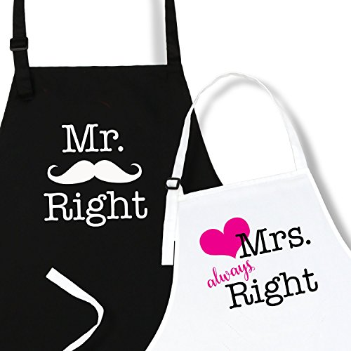 Mr. Right & Mrs. Always Right Aprons by Plum Hill