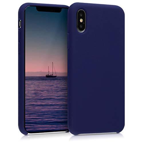 kwmobile Carcasa Compatible con Apple iPhone XS - Funda de Silicona para móvil - Cover Trasero en Azul Profundo