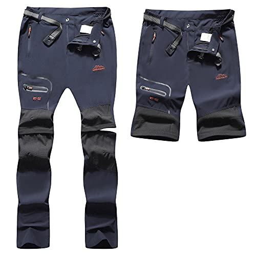 BenBoy Pantaloni Trekking Donna Impermeabili Pantaloni da Lavoro Zip off Convertibile Pantaloncini Traspirante Asciugatura Rapida Leggero Pantaloni da Montagna Caccia KZ2246W-Dark Blue-S