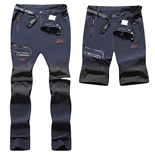 BenBoy Pantaloni Trekking Donna Impermeabili Pantaloni da Lavoro Zip off Convertibile Pantaloncini Traspirante Asciugatura Rapida Leggero Pantaloni da Montagna Caccia KZ2242W-Dark Blue-XL
