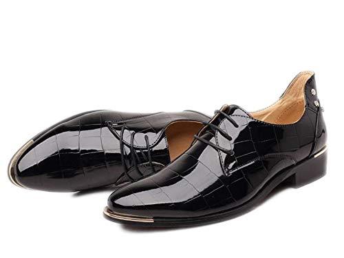 Zapatos de Cuero Estilo Punk para Hombre, Talla Grande, Piel Brillante, Zapatos de Cuero Patentado para Hombre, Color Negro, Talla 46 EU