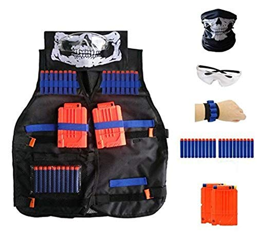 Locisne Gilet tattico per bambini Giacca per pistola giocattolo Nerf Serie N-Strike Elite(freccette 20pcs in schiuma+occhiali protettivi+maschera per cranio+2pezzi 6-dart Reload Clip+1Pz 8 dart)