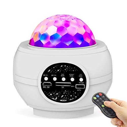 UBEGOOD Sternenhimmel Projektor, Sternenlicht Projektor Lamp LED Wasserwellen Projektorlicht Bluetooth Music Projector Nachtlicht mit Fernbedienung und Timer, für Baby Schlafzimmer, Party, Weihnachten
