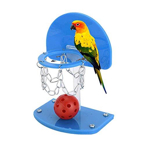 Urisgo Juego de juguetes de baloncesto, diseo de pjaros, minipelota de baloncesto, juego educativo para el desarrollo de loros, para ejercicios con bolas para masticar