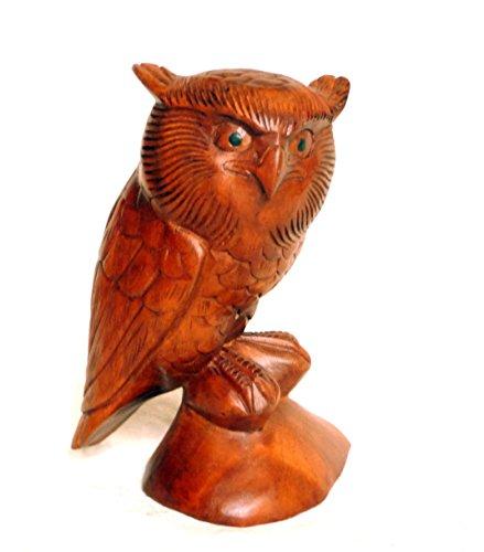 Asia Design Eule Holz Holzeule Holzfigur Schleiereule Eulenfigur Dekoeule Skulptur handgeschnitzt 22x14x14 cm