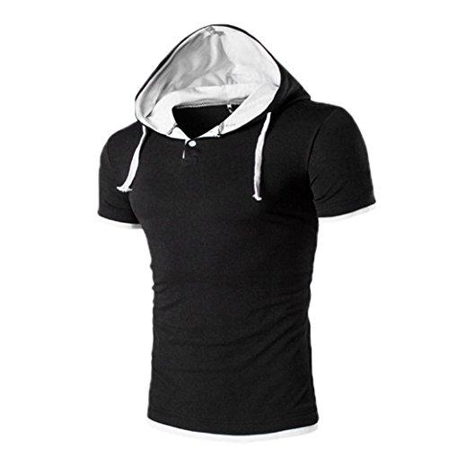 OVERDOSE Herren Sommer Hoodie Bluse Mode Kapuzen V-Ausschnitt Pullover Herren Kurzarm Sports T-Shirt Slim Fit Hemd Oberteile Tank Tops (M, Weiß)