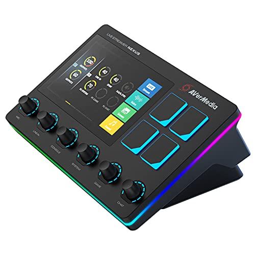 AVerMedia Live Streamer NEXUS: mixer audio a 6 tracce e controller di produzione dal vivo con touch screen IPS, con integrazione diretta con OBS, Streamlabs, Spotify (AX310)