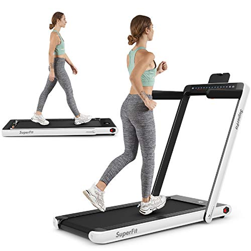 Goplus 2 in 1 Folding Treadmill with Dual Display, 2.25HP Under Desk Electric Pad...