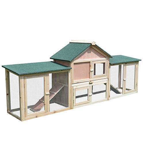 """PawHut 83""""L 2-Story XL Wooden Deluxe Rabbit Bunny House Outdoor Hutch Pet Cage"""