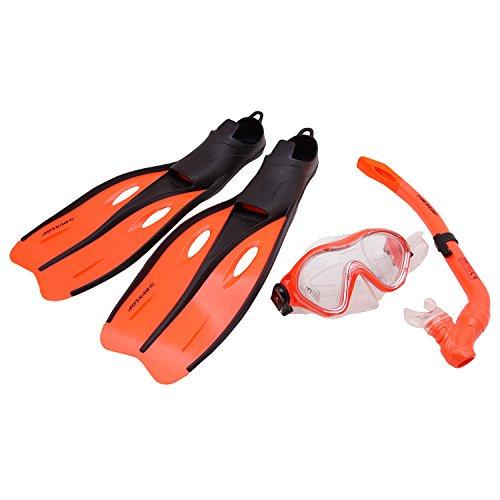 Profi Schnorchel Set Dunlop Schwimmflossen Taucherbrille Tauchmaske Kinder Jugend Erwachsene Größe 32-42 (Orange, 32-34)