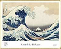 ポスター ホクサイ The Great Wave 富嶽三十六景・神奈川沖波裏 額装品 アルミ製ハイグレードフレーム(ゴールド)