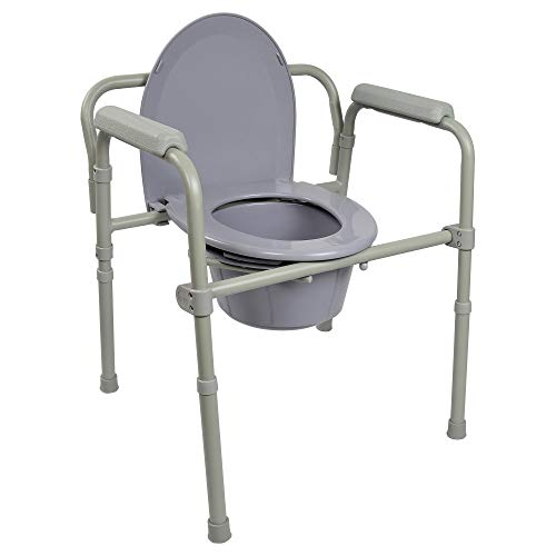 McKesson Folding Commode Chair Fixed Arm Steel Back Bar up to 350 lbs