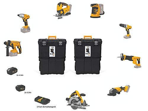 VITO Professional 20V 4x Akkus - 2x6.0 Ah, 2x4.0Ah Akku Werkzeug Set (PowerPack10) Akku Combo - Akku Stichsäge, Schrauber, Kreissäge, Bohrhammer, Winkelschleifer, Säbelsäge, Schlagschrauber
