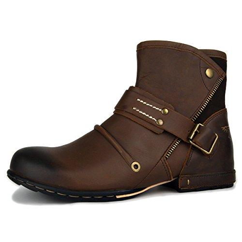 OTTO ZONE Herren Worker Boots | Schnürstiefeletten Leder Optik | Blockabsatz Profilsohle | Schnürer Schuhe Schnallen | Schnürboots |OZ-5008-7, Braun, 44 EU