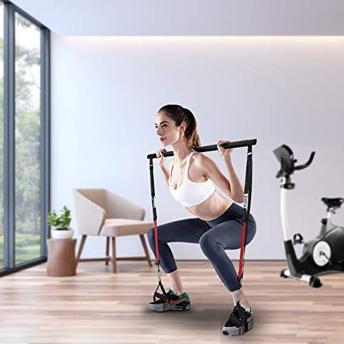 Vogvigo Kit de Barra de Pilates con Bandas de Resistencia Gimnasio Multifuncional portátil para el hogar Ejercicio de Pilates Stick para Yoga, Tramo Formación