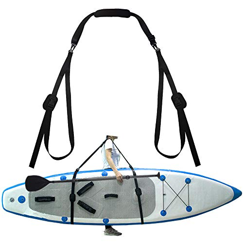 ZipSeven SUP Shoulder Carrier Strap Soft Kayak Storage Sling Adjustable Length with Metal Accessories for Canoe Paddle Board Carrying