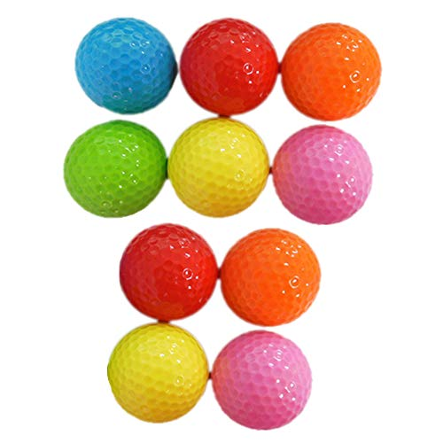Aisoway 10 Stück Farbige Golf-Praxis-Ball Long Distance Peak Performance Golfbälle (Zufällige Farben)