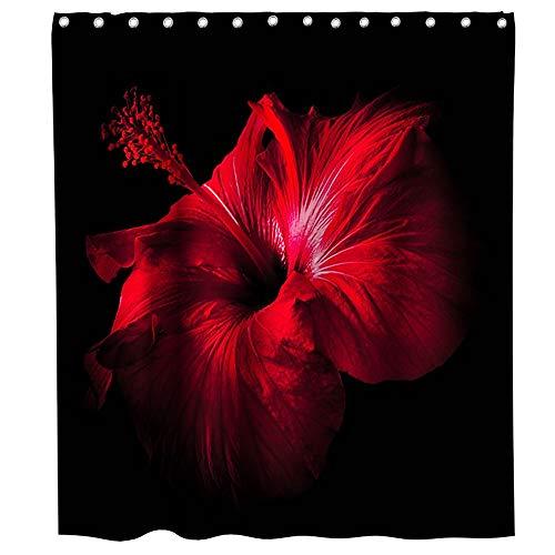 Cortina de ducha floral de hibisco rojo temática de flores de tela de baño juego de decoración con ganchos, impermeable, lavable, 182,88 x 182,88 cm