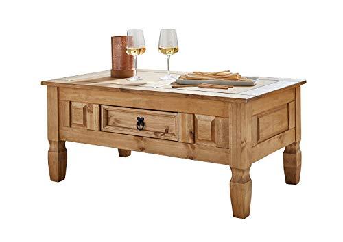 SAM Couchtisch Santa Fe, Kiefernholz, Mexico-Möbel, rustikaler Tisch mit Schubfach, gewachste Oberfläche mit schwarzem Metallgriff