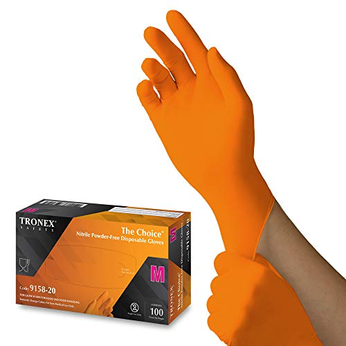 1000 Pack Tronex Orange Small Nitrile Gloves, Industrial Mechanic Disposable Gloves, Fully Textured for Improved Grip (Small)